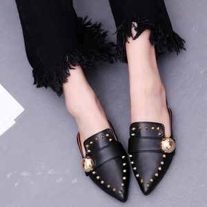 Shoes - New  Boutique Studded Slip On Black Mules